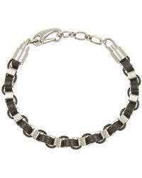 Link Up Leather Woven Chain Bracelet - Metallic