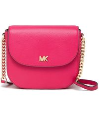 MICHAEL Michael Kors - Half Dome Leather Crossbody Bag - Lyst