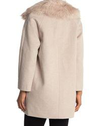 Reiss Lawson Faux Fur Collar Wool Blend Coat - Natural