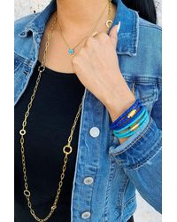 Liza Schwartz Two-tone Braided Leather Triple Wrap Bracelet - Blue