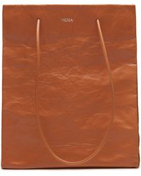 MEDEA Tall Busted Leather Tote - Brown