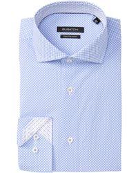 Bugatchi Printed Shaped Fit Dress Shirt - Blue
