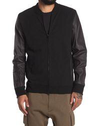Jason Scott Charles Leather Sleeve Bomber Jacket - Black