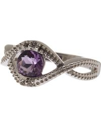 Liberty - Sterling Silver Amethyst & White Topaz Detail Cutout Ring - Lyst