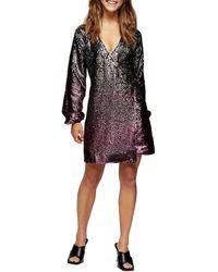 TOPSHOP Ombre Sequin Wrap Dress - Pink