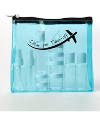 MIAMICA Clear For Take-off Clear Security Case With Assorted Bottles 15-piece Set - Turquoise - Blue