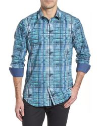 Bugatchi - Distressed Check Shaped Fit Sport Shirt - Lyst