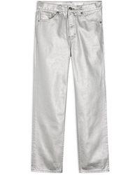 TOPSHOP Silver Foil High Waist Straight Leg Jeans - Metallic