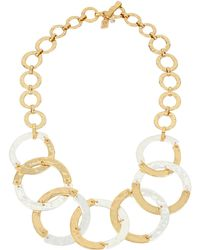 Robert Lee Morris - Two-tone Hammered Link Necklace - Lyst