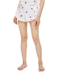 TOPSHOP - Ruffle Pajama Shorts - Lyst