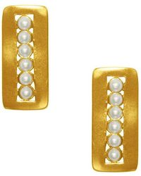 Karine Sultan 24k Yellow Gold Plated Rectangle Stud Earrings - Metallic