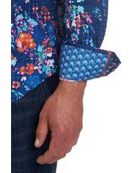 Robert Graham Patterned Grana Classic Fit Long Sleeve Shirt - Blue