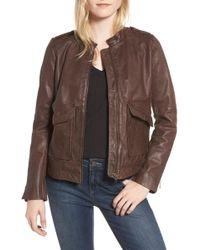 Hinge Pocket Detail Leather Jacket - Brown