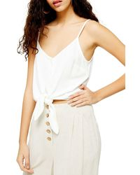TOPSHOP Polly Tie Front Camisole - White