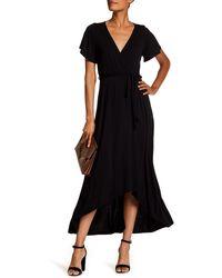 West Kei Flutter Sleeve High/low Wrap Dress - Black