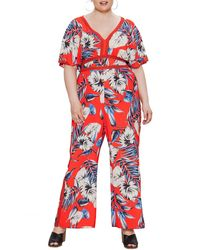 Jealous Tomato Tropical Print Jumpsuit - Red
