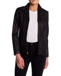 Cole Haan - Genuine Leather Front Zip Wing Collar Jacket - Lyst