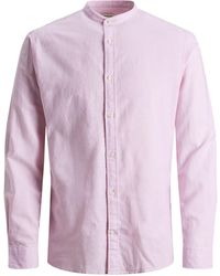 Jack & Jones Mandarin Collar Slim Fit Shirt - Pink