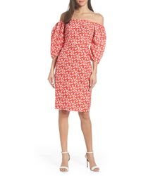 Chelsea28 Off The Shoulder Balloon Sleeve Dress - Red