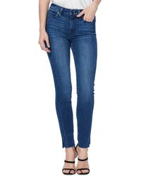 PAIGE Hoxton High Waist Side Slit Ankle Skinny Jeans - Blue