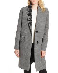 Kensie Glen Plaid Lace Trim Coat - Black