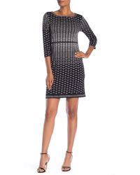 Max Studio - 3/4 Sleeve Printed Shift Dress - Lyst