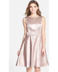 Dessy Collection - Draped Back Satin Fit & Flare Dress - Lyst