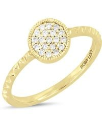 Bony Levy - 18k Yellow Gold Pave Diamond Detail Circle Textured Ring - Lyst