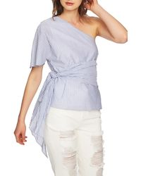 1.STATE One-shoulder Wrap Waist Blouse - Blue