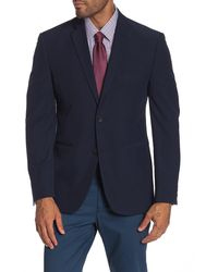 Perry Ellis Navy Solid Two Button Notch Lapel Performance Tech Very Slim Fit Suit Separates Jacket - Blue