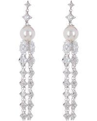 Nadri - Boho Bride 9mm Freshwater Pearl & Crystal Tassel Drop Earrings - Lyst