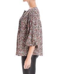 Max Studio Floral 3/4 Sleeve Pintuck Blouse - Multicolor
