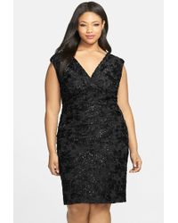 Marina - Embroidered Rosette Sequin Lace Double V-neck Sheath Dress (plus Size) - Lyst