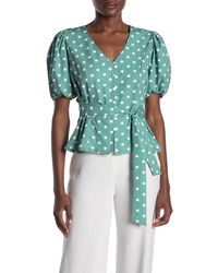 Cliche Dot Print Tie Waist Blouse - Blue