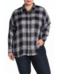 Workshop Plaid Long Sleeve Shirt (plus Size) - Blue