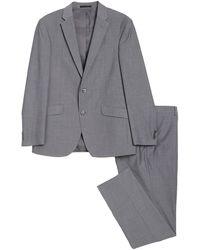 Kenneth Cole Reaction Grey Check Two Button Notch Lapel Slim Fit Suit