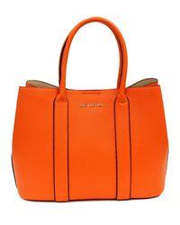 Suzy Levian Pebbled Faux Leather Satchel Handbag - Orange