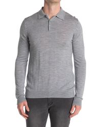 Reiss Knit Polo Sweater - Gray