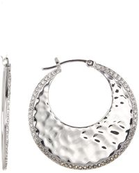 Judith Jack - Sterling Silver Swarovski Crystal Pave Hammered Hoop Earrings - Lyst