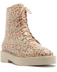 Schutz Mckenzie Floral Print Leather Combat Boot - Natural