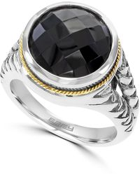Effy Sterling Silver & 18k Gold Onyx Ring - Size 7 - Black