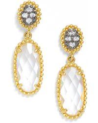 Freida Rothman - 14k Gold Plated Sterling Silver Anniversary Long Oval Drop Earrings - Lyst