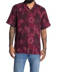 Tommy Bahama Core Fuego Floral Short Sleeve Regular Fit Silk Shirt - Purple