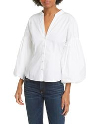 Veronica Beard Aileen Balloon Sleeve Blouse - White