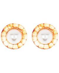 BaubleBar Dione Imitation Pearl Resin Button Stud Earrings - Metallic