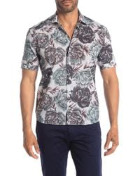 Culturata Short Sleeve Large Floral Print Contemporary Fit Shirt - Green