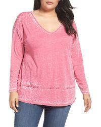 Sejour Burnout Tunic (plus Size) - Pink