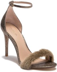 Rachel Zoe - Everyly Genuine Dyed Mink Fur Suede Ankle Strap Sandal - Lyst