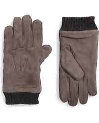 Ted Baker Suede Cuffed Glove - Grey