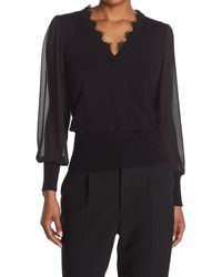 Laundry by Shelli Segal V-neck Sweater W/ Chiffon Sleeves - Black